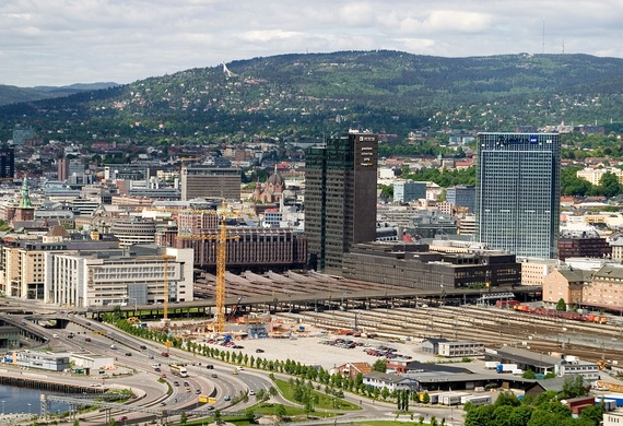 The Bjørvika area and Oslo Central Station seen from Ekeberg.